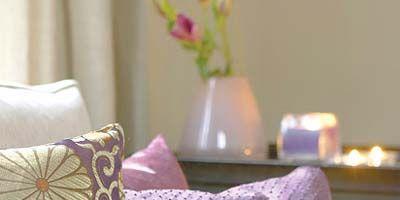 Room, Purple, Textile, Violet, Interior design, Pink, Lavender, Linens, Petal, Home accessories,