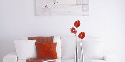 Room, Interior design, Wall, Red, Furniture, Floor, Orange, Interior design, Couch, Living room,