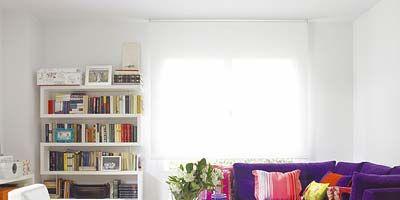 Room, Interior design, Purple, Textile, Furniture, Violet, Wall, Floor, Home, Lavender,