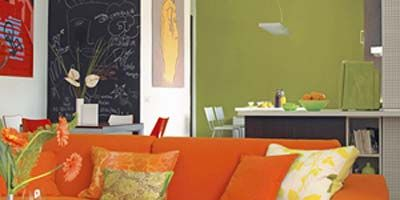 Room, Interior design, Yellow, Orange, Wall, Living room, Furniture, Couch, Table, Home,