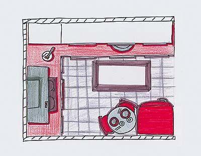 Una cocina bien equipada de 3 m²