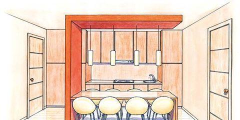 Line, Interior design, Parallel, Rectangle, Design, Drawing, Illustration, Artwork, Wood stain, Hall,