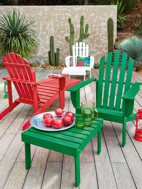 Furniture, Outdoor furniture, Table, Chair, Outdoor table, Turquoise, Garden, Armrest, Houseplant, Peach,
