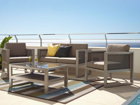 Table, Outdoor furniture, Interior design, Couch, Coffee table, Furniture, Home, Rectangle, Living room, studio couch,