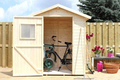 caseta de madera para el jardín para guardar las bicicletas