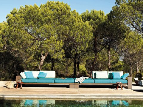Teal, Aqua, Turquoise, Outdoor furniture, Couch, Azure, Shade, Swimming pool, studio couch, Outdoor sofa,