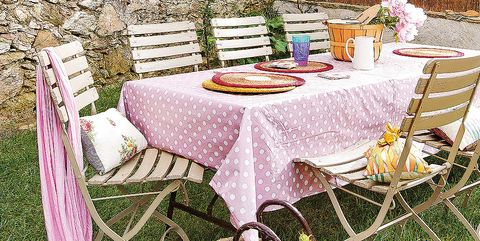 Tablecloth, Table, Pink, Furniture, Textile, Chair, Linens, Backyard, Home accessories, Outdoor table,