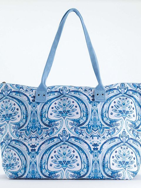 Handbag, Bag, Blue, Shoulder bag, Fashion accessory, Pattern, Visual arts, Design, Diaper bag, Tote bag,