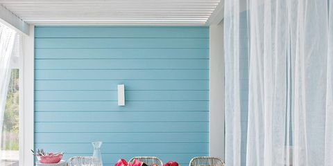 Interior design, Table, Furniture, Room, Window covering, Window treatment, Teal, Home, Outdoor table, Outdoor furniture,