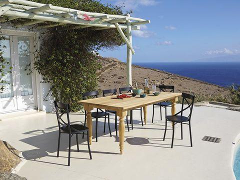 Coastal and oceanic landforms, Table, Furniture, Outdoor table, Outdoor furniture, Azure, Ocean, Shade, Pergola, Caribbean,