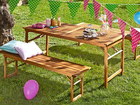 Balloon, Furniture, Table, Outdoor furniture, Party supply, Outdoor table, Violet, Magenta, Yard, Backyard,