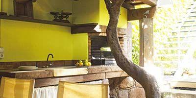 Yellow, Property, Plumbing fixture, Room, Kitchen sink, Interior design, Tap, Sink, Light fixture, Interior design,