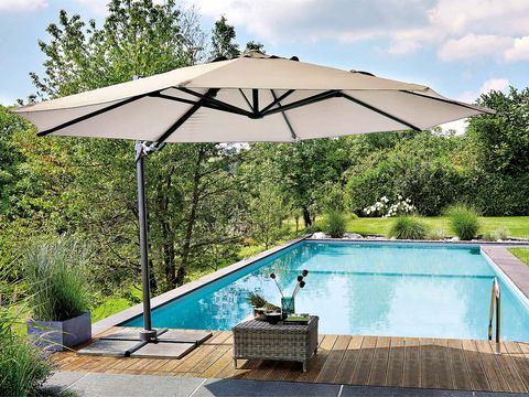 Swimming pool, Property, Umbrella, Azure, Shade, Resort, Composite material, Rectangle, Sunlounger, Garden,
