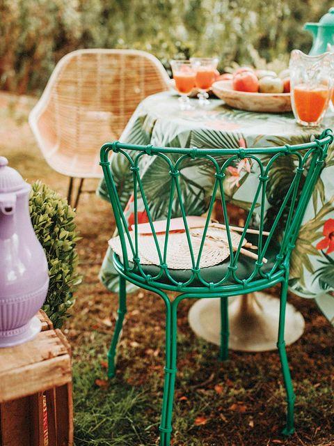 Green, Table, Furniture, Yard, Backyard, Grass, Chair, Plant, Garden, Outdoor furniture,