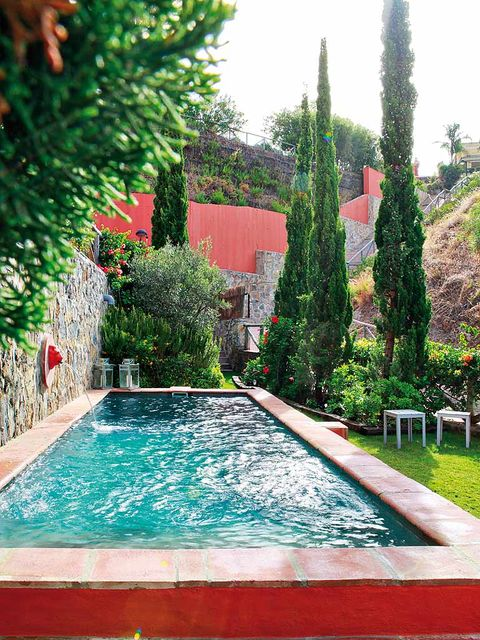 Swimming pool, Fluid, Shrub, Garden, Water feature, Composite material, Rectangle, Landscaping, Yard, Courtyard,