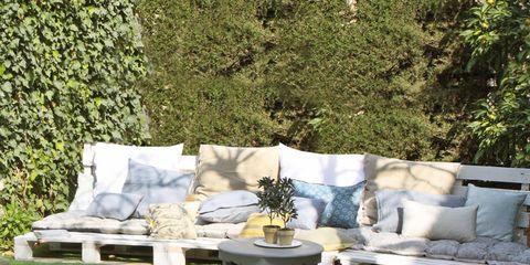 Outdoor furniture, Couch, Swimming pool, Aqua, Turquoise, Garden, Coffee table, Outdoor sofa, Patio, Rectangle,