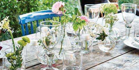 Table, Tablecloth, Furniture, Rehearsal dinner, Textile, Champagne stemware, Linens, Stemware, Flower, Brunch,