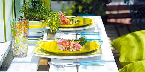 Table, Yellow, Tablecloth, Furniture, Brunch, Picnic table, Textile, Coffee table, Linens, Meal,