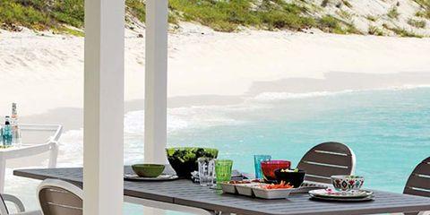 Table, Furniture, Outdoor furniture, Outdoor table, Chair, Turquoise, Aqua, Shade, Restaurant, Deck,