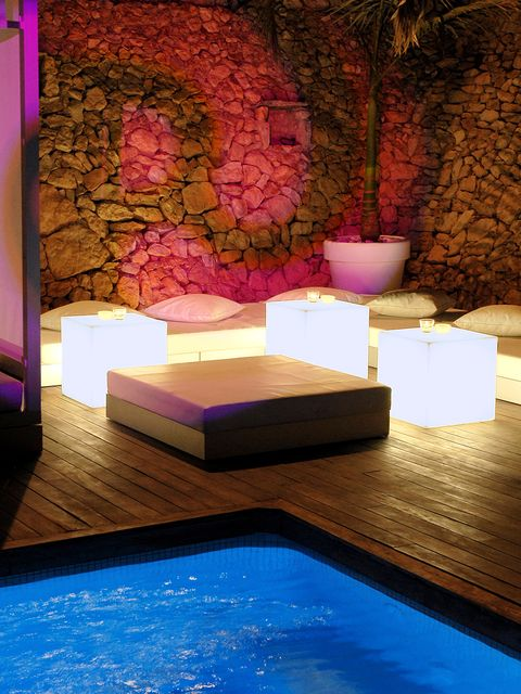 Lighting, Interior design, Purple, Magenta, Majorelle blue, Swimming pool, Interior design, Violet, Rectangle, Wallpaper,