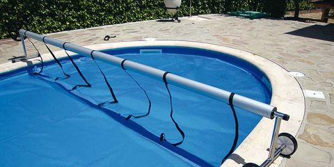 Swimming pool, Aqua, Shade, Composite material, Shadow, Sunlounger, Yard, Tile, Leisure centre,