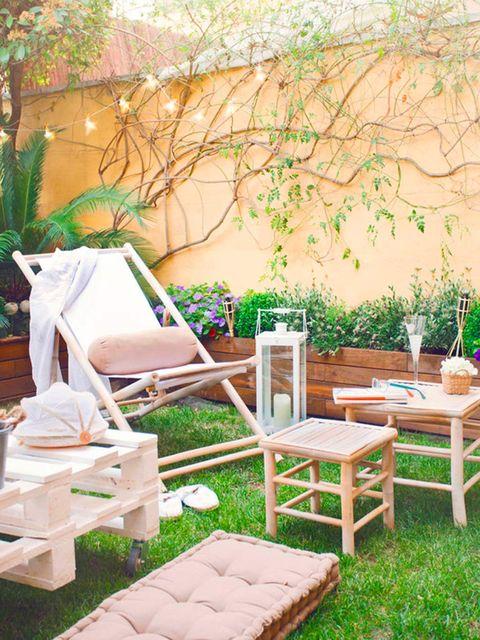 Furniture, Outdoor furniture, Table, Outdoor table, Backyard, Home, Garden, Patio, Peach, Armrest,
