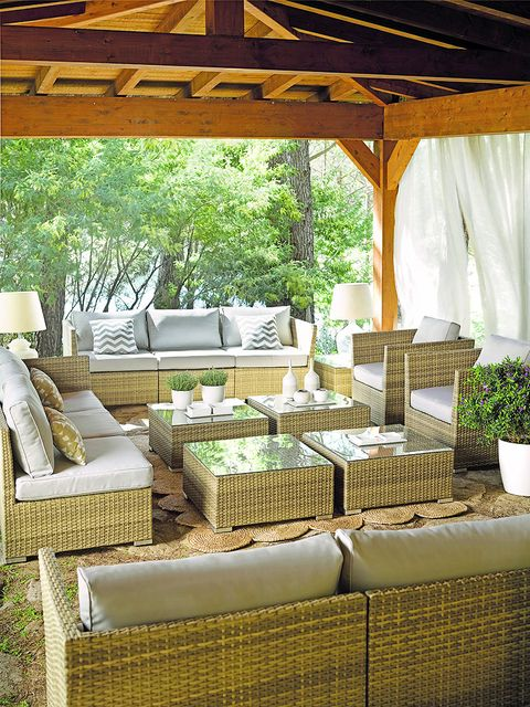 Property, Furniture, Room, Wicker, Interior design, Table, Patio, Shade, House, Building,