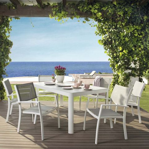Furniture, Table, Chair, Outdoor furniture, Outdoor table, Real estate, Hardwood, Wood flooring, Ocean, Home,