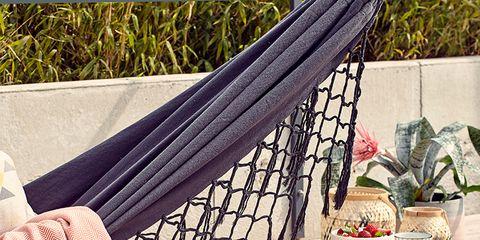Textile, Hammock, Linens, Flowerpot, Peach, Home accessories, Shade, Wicker, Basket, Net,