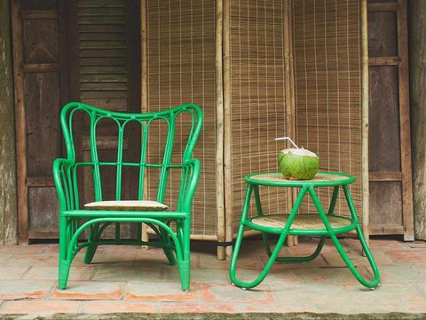 Green, Wood, Furniture, Chair, Hardwood, Teal, Wicker, Outdoor furniture, Armrest,