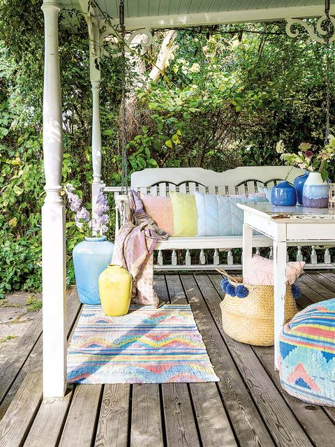 Turquoise, Teal, Majorelle blue, Outdoor table, Aqua, Shade, Deck, Hardwood, Outdoor furniture, Backyard,
