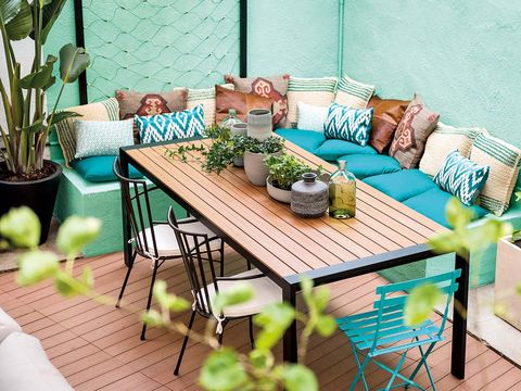 Table, Furniture, Outdoor furniture, Outdoor table, Flowerpot, Turquoise, Teal, Couch, Home, Aqua,