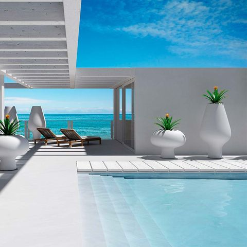 Property, Interior design, Room, Azure, Wall, Furniture, Vacation, Turquoise, Real estate, House,