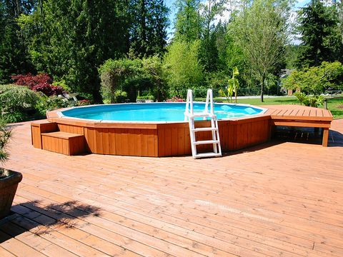 Deck, Property, Hardwood, Swimming pool, Wood, Wood stain, Backyard, Leisure, Real estate, Grass,