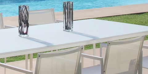 Table, Transparent material, Rectangle, Outdoor table, Outdoor furniture, Steel, Dock,