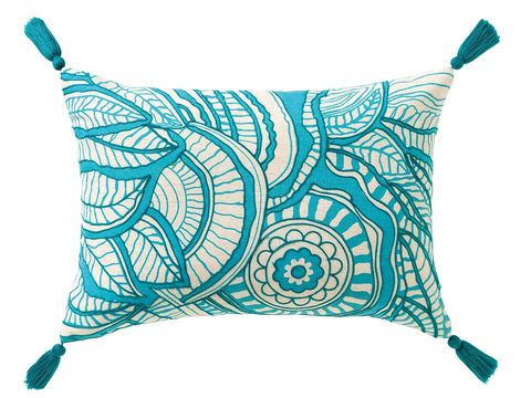 Pillow, Cushion, Throw pillow, Turquoise, Aqua, Teal, Linens, Pattern, Undergarment, Lingerie,