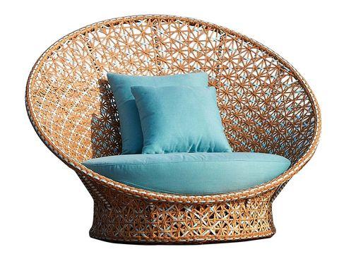 Furniture, Teal, Aqua, Chair, Turquoise, Wicker, Cushion, Outdoor furniture, Club chair, Natural material,