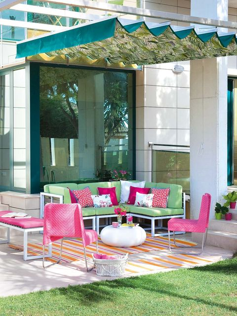 Furniture, Shade, Outdoor furniture, Teal, Turquoise, Pillow, Patio, Outdoor structure, Flowerpot, Outdoor table,