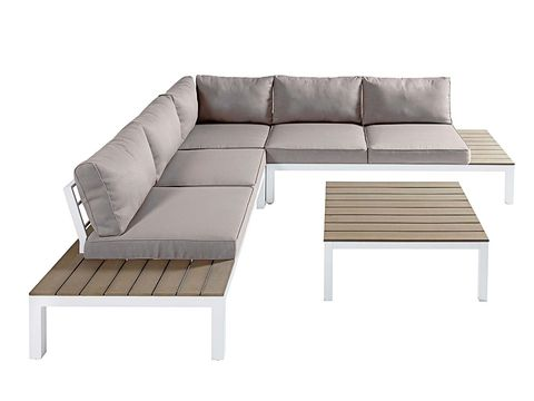 Outdoor furniture, Furniture, Line, Couch, Rectangle, Grey, Beige, Tan, studio couch, Coffee table,
