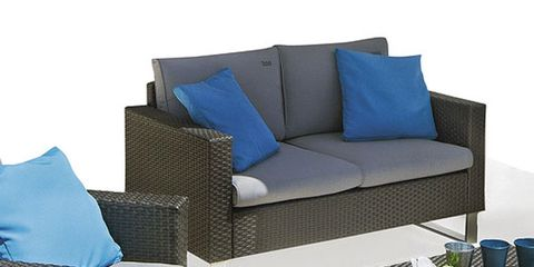 Blue, Furniture, Room, Couch, Living room, Interior design, Outdoor furniture, Rectangle, Black, Pillow,