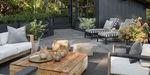Property, Furniture, Patio, Backyard, Room, Yard, Coffee table, Home, Deck, Tree,