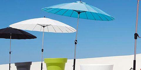 Product, Umbrella, Shade, Tints and shades, Aqua, Plastic, Outdoor table, Cylinder,