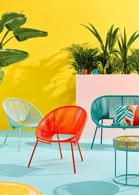 Furniture, Yellow, Orange, Table, Chair, Living room, Plant, Room, Outdoor furniture, Interior design,
