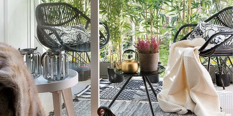 Interior design, Room, Yellow, Table, Furniture, Living room, Home, House, Houseplant, Porch,