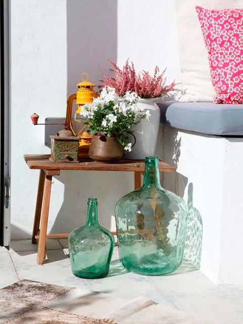 Mason jar, Table, Furniture, Turquoise, Glass bottle, Room, Glass, Shelf, Vase, Interior design,
