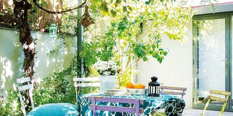 Furniture, Table, Chair, Blue, Turquoise, Patio, Room, Outdoor table, Interior design, Yard,