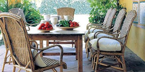 Furniture, Room, Green, Chair, Interior design, Property, Table, Patio, Wicker, Home,