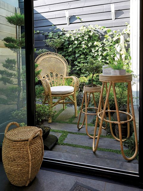 Wicker, Chair, Furniture, Interior design, Room, Balcony, Plant, Porch, Table, House,