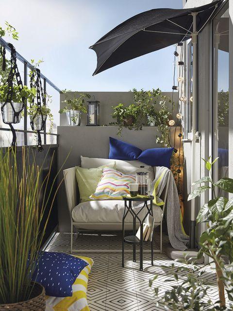 Blue, Furniture, Property, Room, Interior design, Home, House, Building, Balcony, Patio,