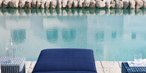 Outdoor furniture, Reflection, Rectangle, Reservoir, Water feature, Outdoor sofa, Reflecting pool,